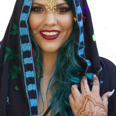 Traditional dress, jewelry, and henna tattoos