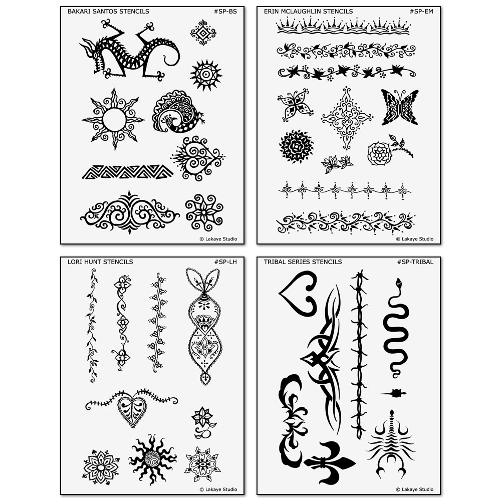 Los Angeles Artists Series Temporary Tattoo Design Stencil Sheets