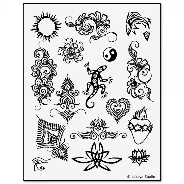 Temporary Tattoo Stencils Henna: Earth Henna Premium Body Painting Kit