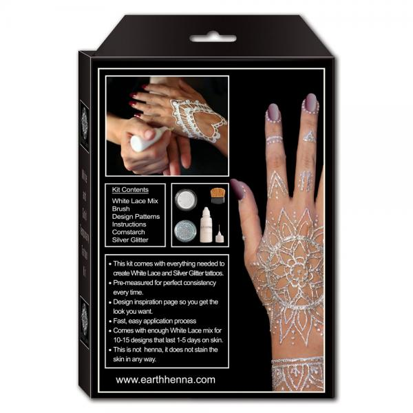 White and Silver Henna Tattoo Kit - Back