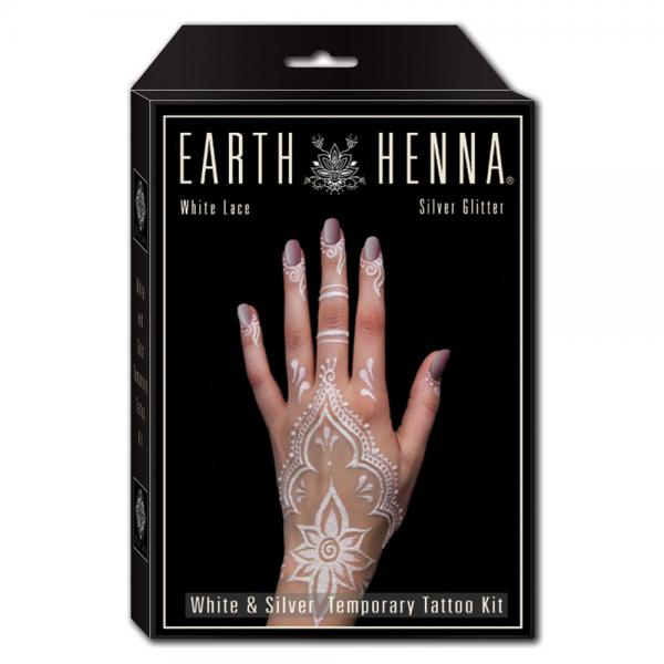 White and Silver Henna Tattoo Kit - Front